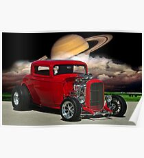 """1932 Ford """"Red Hot"""" Hot Rod Poster"""