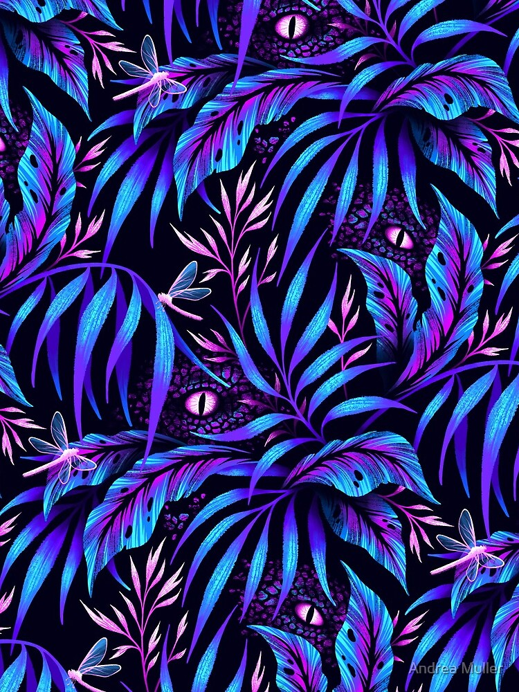Jurassic Jungle - Blue Pink by andreaalice