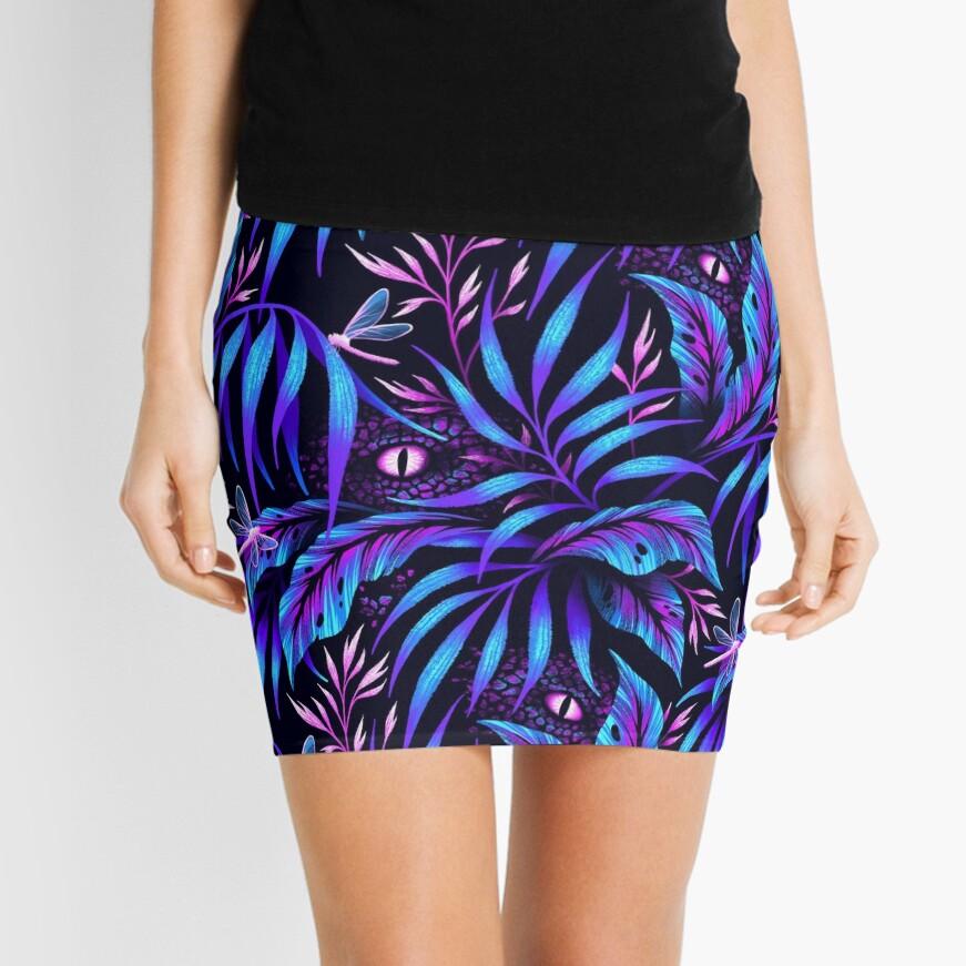 Jurassic Jungle - Blue Pink Mini Skirt
