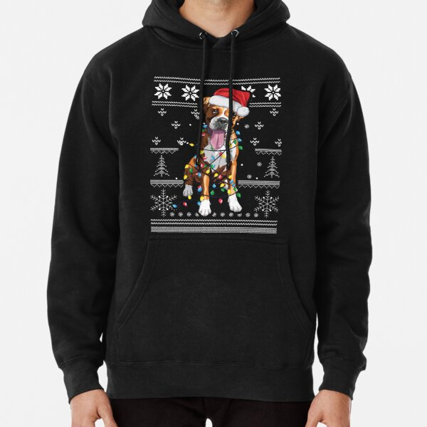 boxer dog christmas ugly swater Pullover Hoodie