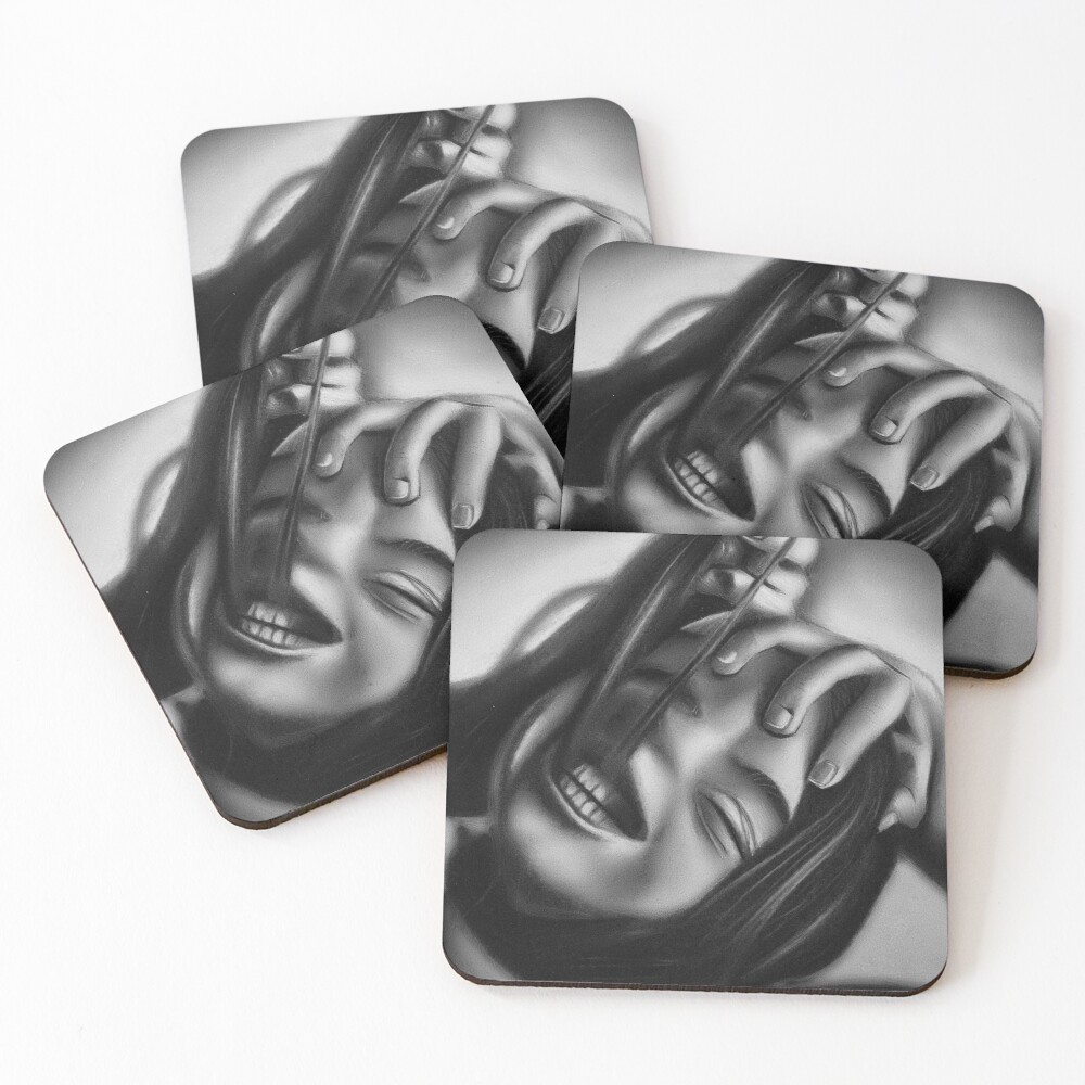 Death of a smile (Charcoal drawing) Coasters (Set of 4)