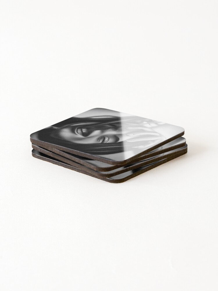 Alternate view of Death of a smile (Charcoal drawing) Coasters (Set of 4)