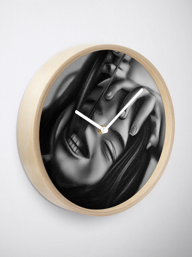 Alternate view of Death of a smile (Charcoal drawing) Clock
