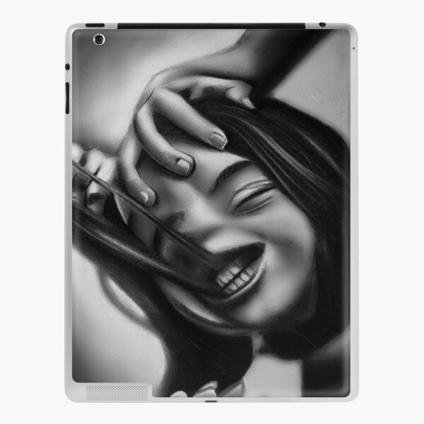 Death of a smile (Charcoal drawing) iPad Skin