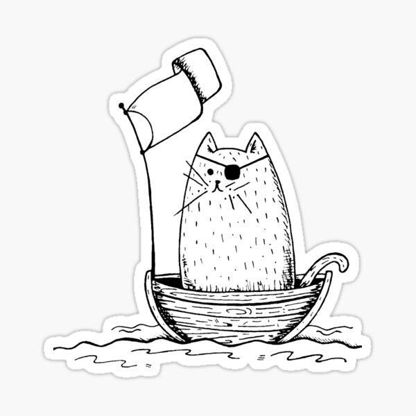 Cute Pirate Cat Sticker Sticker