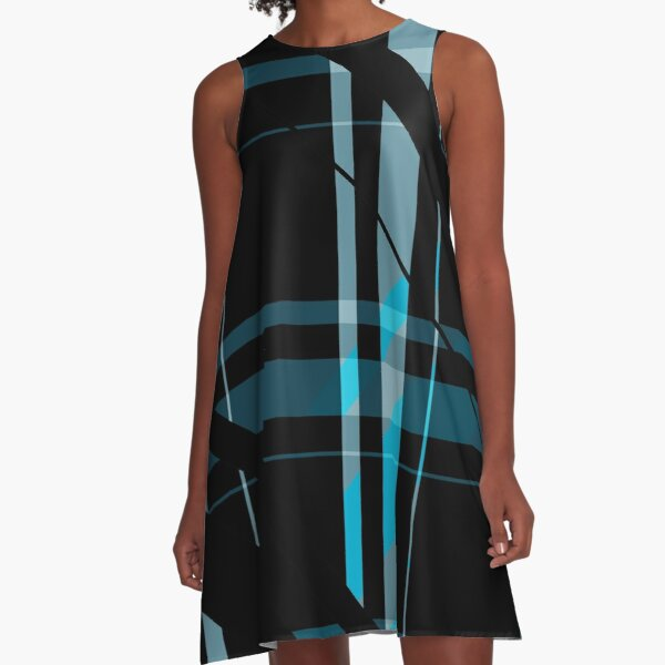 Black & Blue A-Line Dress