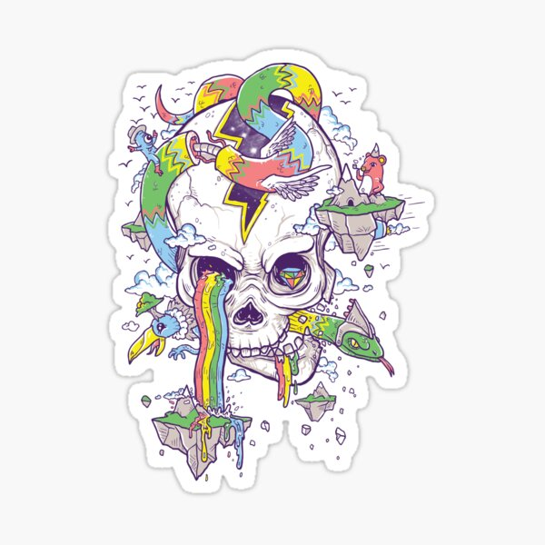 Flying Rainbow skull Island Sticker