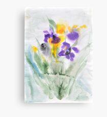 Irises in aqua Metal Print
