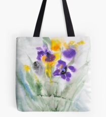 Irises in aqua Tote Bag