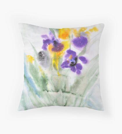 Irises in aqua Throw Pillow