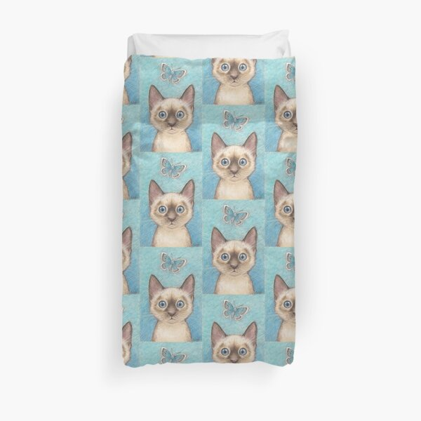 'Blue' - siamese kitten with butterfly Duvet Cover