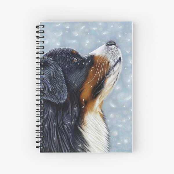 Blissful Blue - Bernese Mountain Dog Catching Snowflakes Spiral Notebook