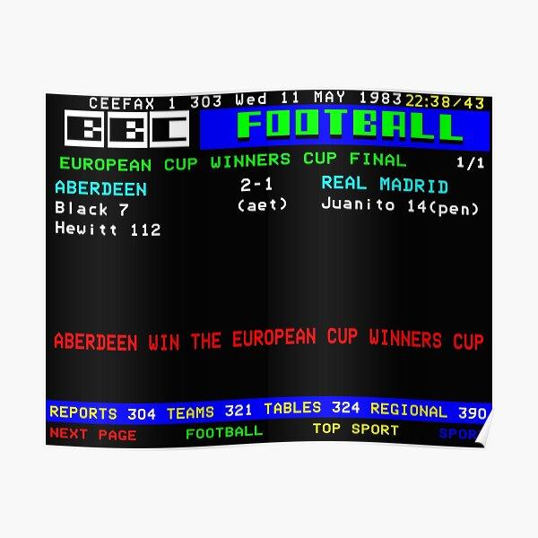 Aberdeen Cup Winners Cup Final 1983 CEEFAX Poster