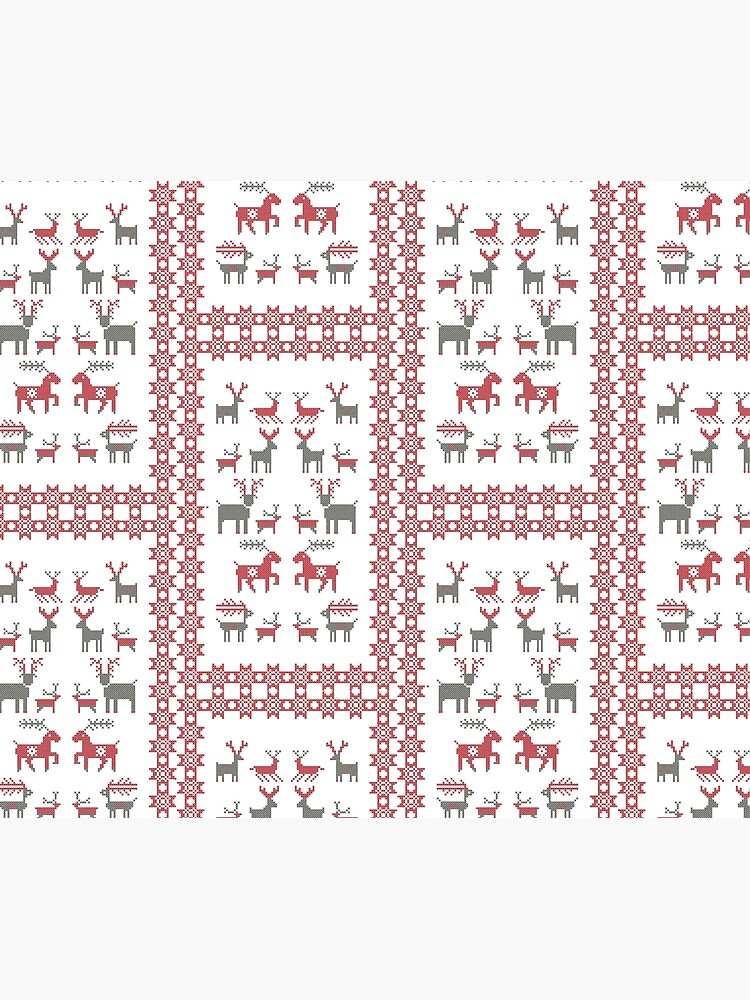 Nordic Cross Stitch Style Reindeer Pixel Art by evenstarhancock
