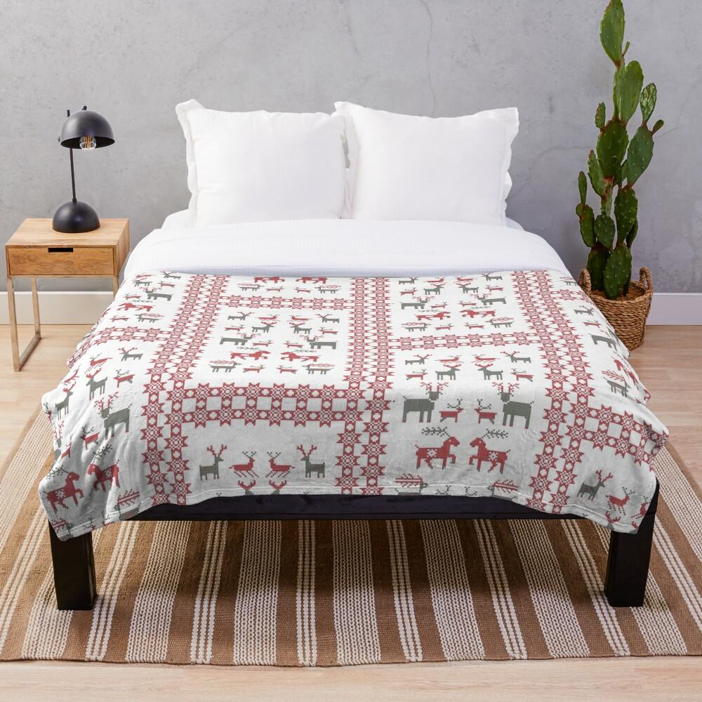 Nordic Cross Stitch Style Reindeer Pixel Art Throw Blanket