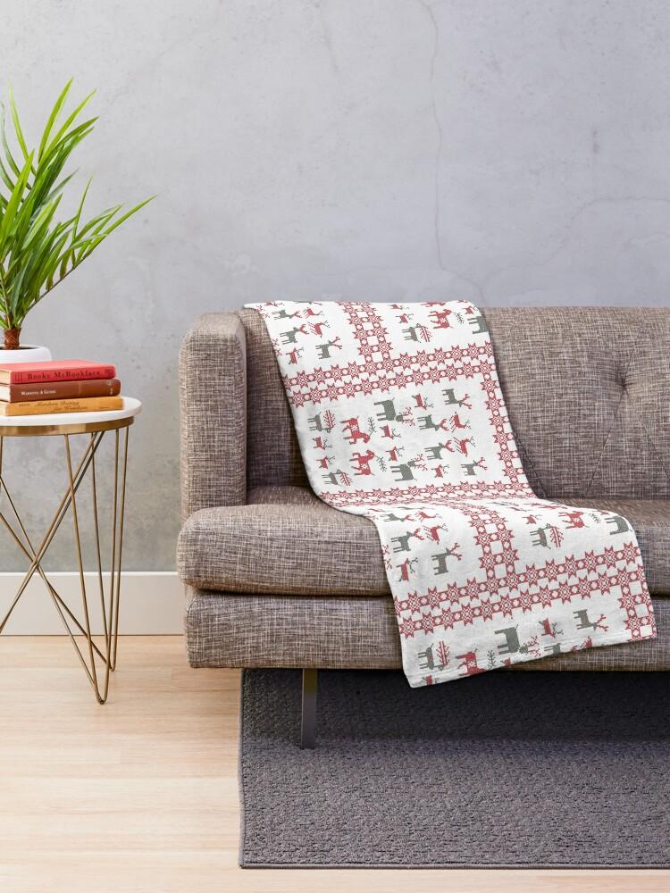 Alternate view of Nordic Cross Stitch Style Reindeer Pixel Art Throw Blanket