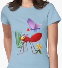 Fire Ant and Purple Butterfly Women's Fitted T-Shirt
