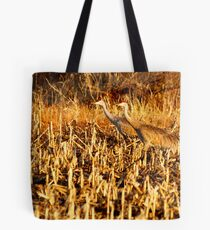Golden Lighted Sandhill Cranes Tote Bag