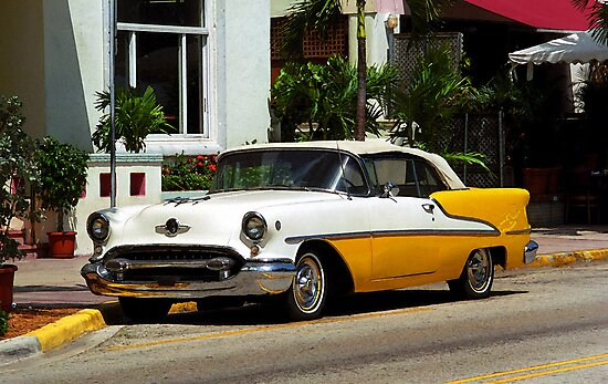 Miami Beach Classic Car with Watercolor Effect by Frank Romeo