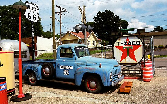 Route 66 - Gas Station with Watercolor Effect by Frank Romeo