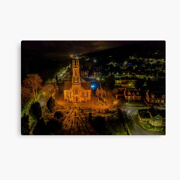 Rhu village, an evening view from above. Canvas Print