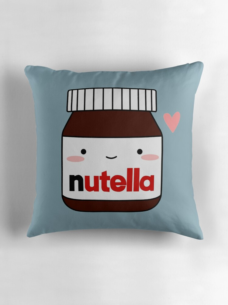 Quot Cute Nutella Jar Quot Throw Pillows By Cafebunny Redbubble