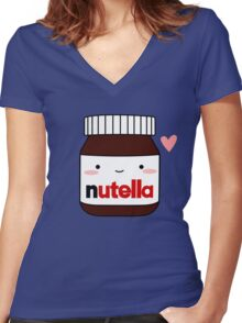 Cute Nutella jar Women's Fitted V-Neck T-Shirt