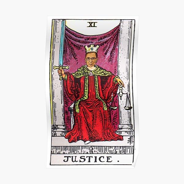Justice Tarot Card of Ruth Bader Ginsberg Poster