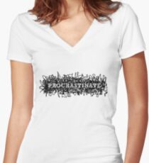 Procrastinate. Women's Fitted V-Neck T-Shirt