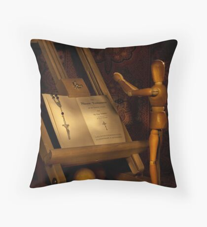 The Conversion of a Wooden Dummy Throw Pillow