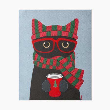 Winter Black Cat With Coffee Art Board Print