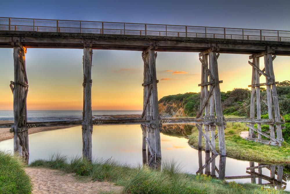 Kilcunda Rail Bridge Sunset • Victoria by Frank Moroni