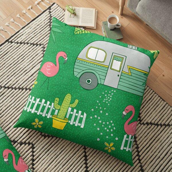 Campsite Flamingos Floor Pillow