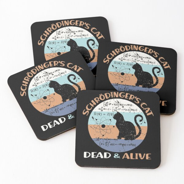 Schroedinger's Cat Physics Teacher Cat Lover Gifts Coasters (Set of 4)
