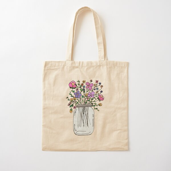 Mason Jar with Flowers Cotton Tote Bag