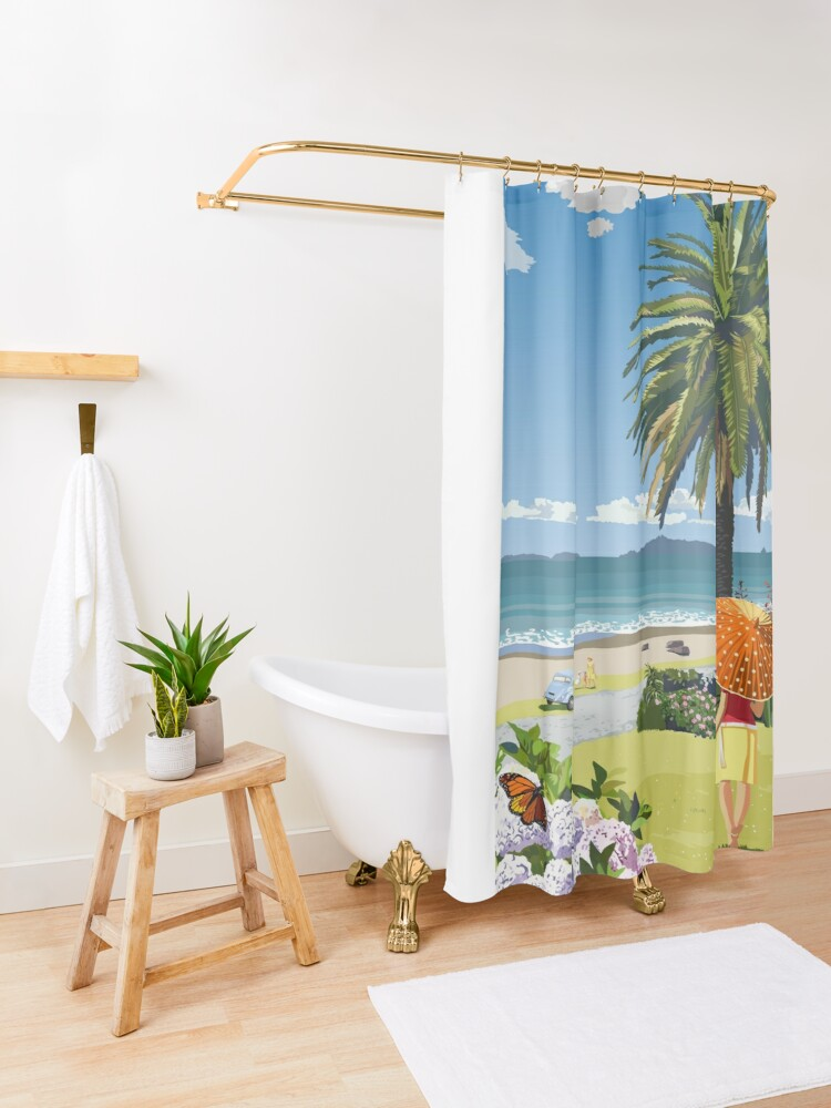 Alternate view of Langs Beach - Northland, New Zealand Shower Curtain