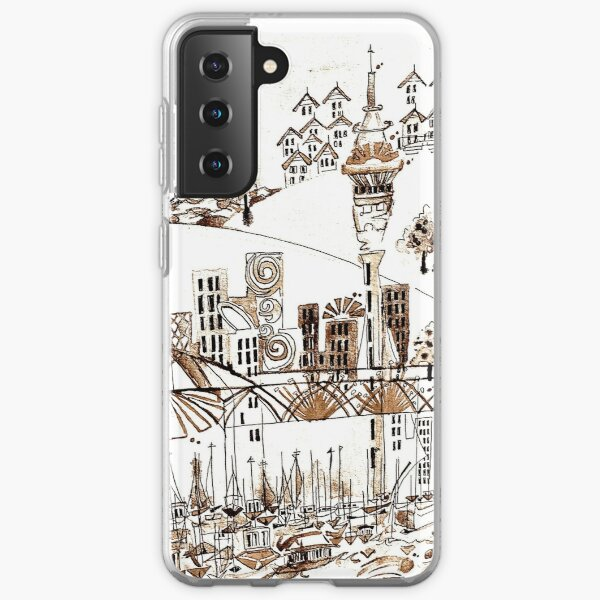 Auckland cityscape sepia black and white Samsung Galaxy Soft Case