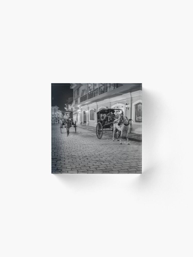 Alternate view of Vigan City, Philippines (black and white) Acrylic Block