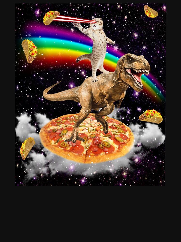 Galaxy Laser Eye Cat on Dinosaur on Pizza with Tacos & Rainbow by Mextpizza