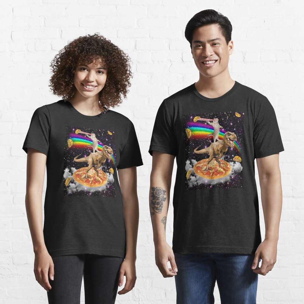 Galaxy Laser Eye Cat on Dinosaur on Pizza with Tacos & Rainbow Essential T-Shirt