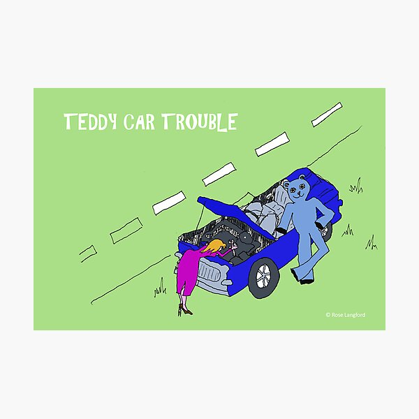 TEDDY CAR TROUBLE Photographic Print