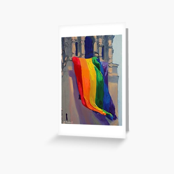 Love Wins LGBTQ Gay Pride Rainbow Flag by RD Riccoboni Greeting Card