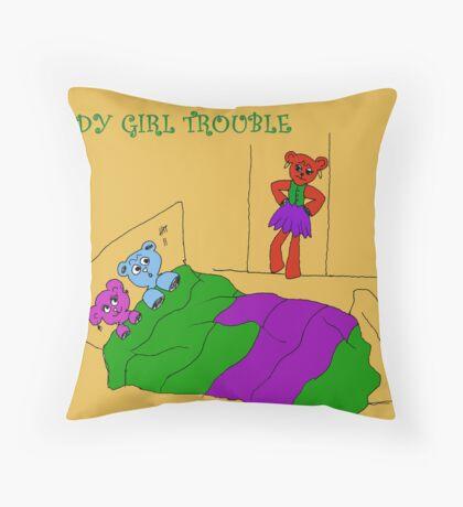 TEDDY GIRL TROUBLE Throw Pillow