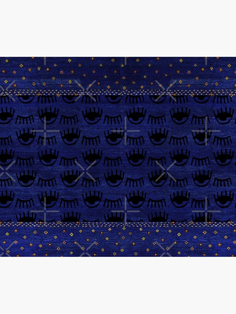Traditional Blue Indigo Moroccan Eyes Design by Arteresting