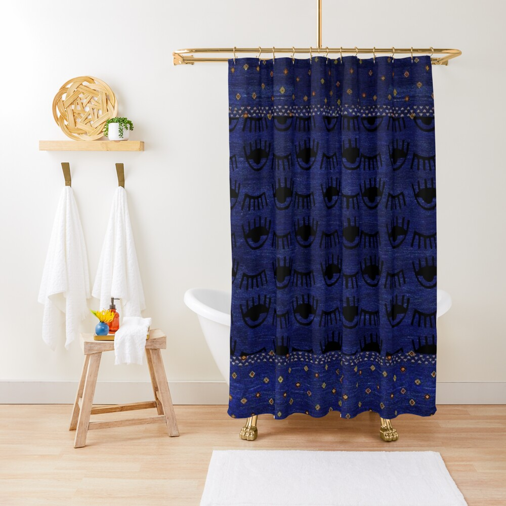Traditional Blue Indigo Moroccan Eyes Design Shower Curtain