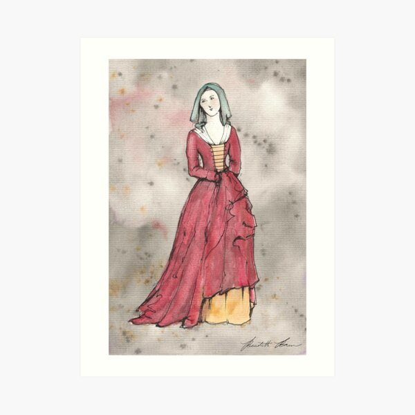 15th Century Medieval Gown Watercolor Print Art Print