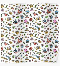 Colorful Funny Old School Tattoo Pattern Poster