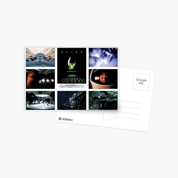 Alien Movie Scene on White Postcard