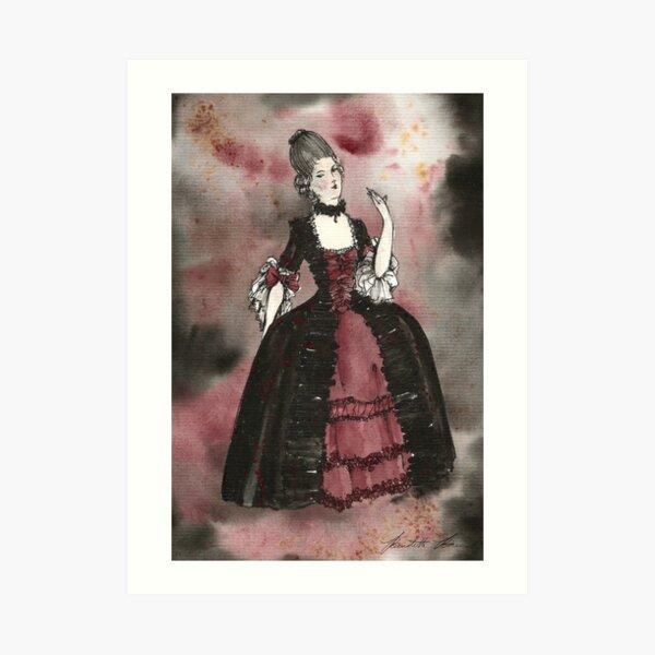 18th Century Versailles Vampire Watercolor Print Art Print