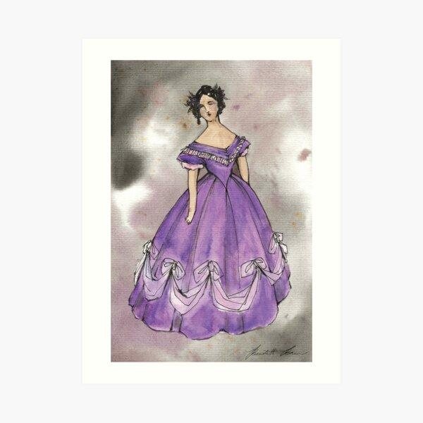 19th Century Ball Gown Watercolor Print Art Print